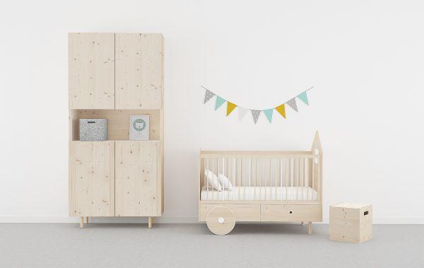 Dormitorio infantil madera natural estilo nórdico y ecológico