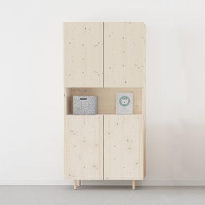 armario 4 puertas y hueco madera natural ecológico