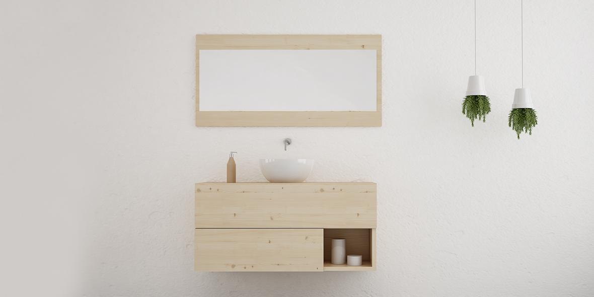 Mueble de baño moderno en madera natural con 2 cajones y hueco