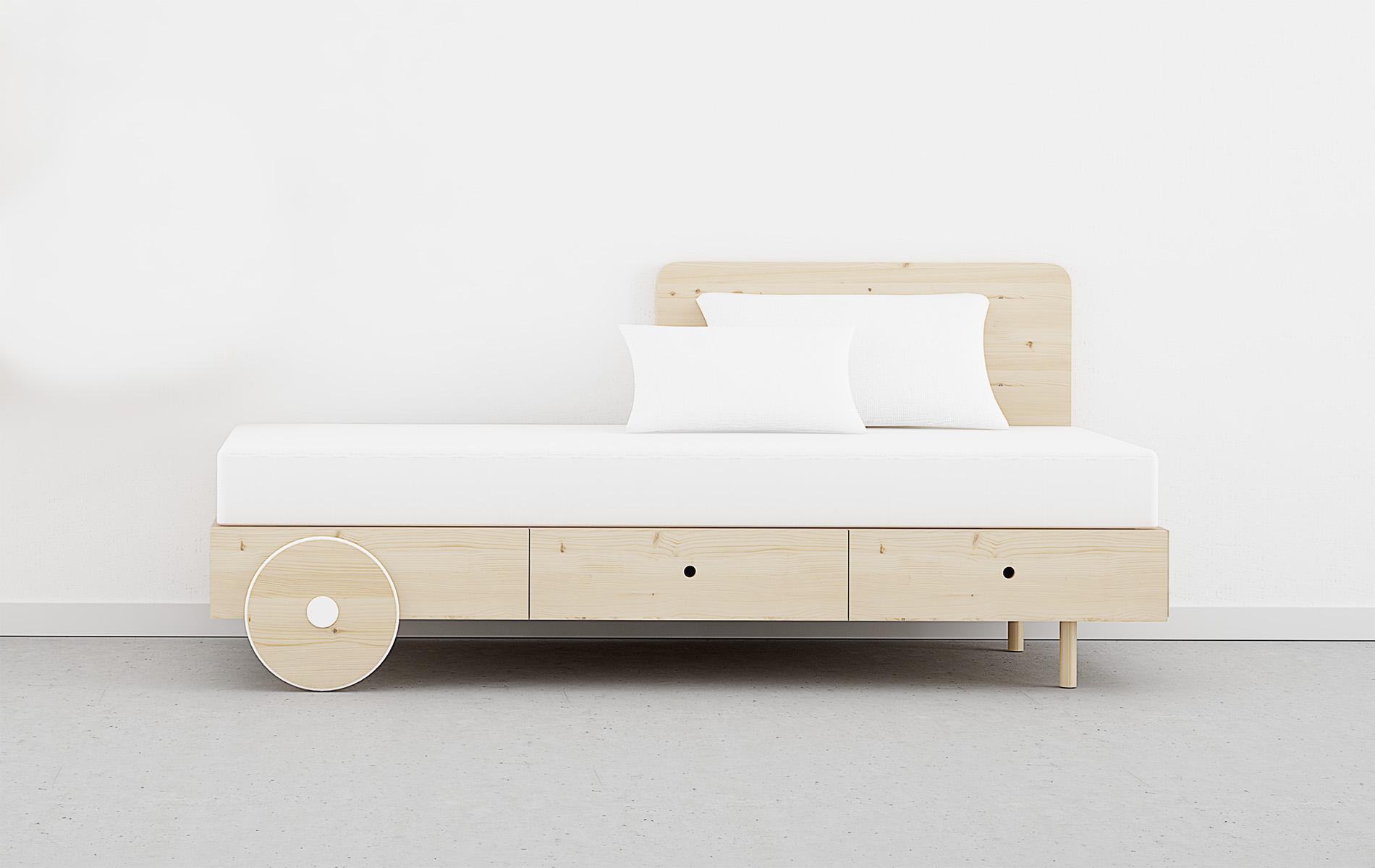 Cama con ruedas de madera y cajones original en madera natural con nudos