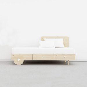 cama 2 cajones y ruedas madera natural
