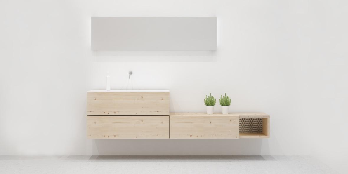 Mueble baño 180 3 cajones y hueco madera con nudos