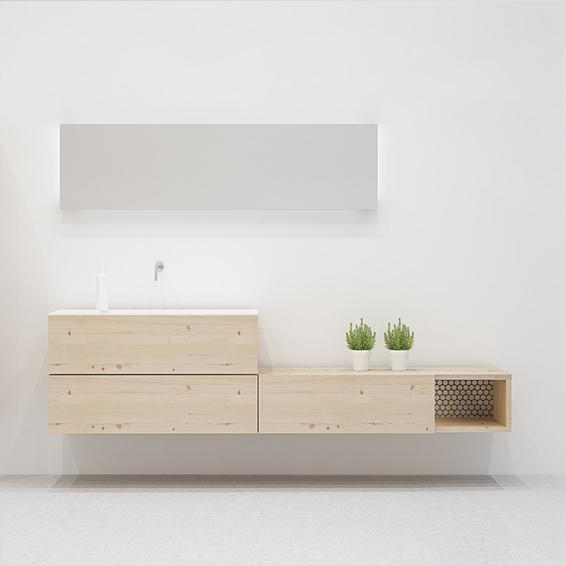 Mueble de baño 180 estilo nórdico con madera natural