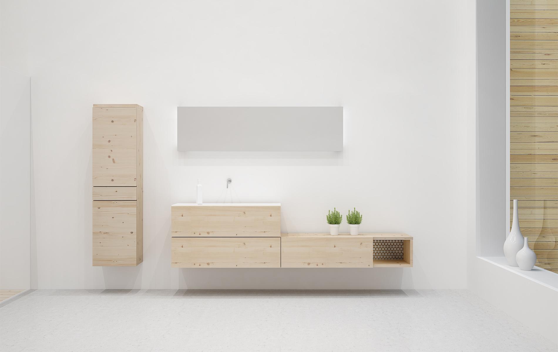 Mueble baño con cajones y hueco 180 madera maciza