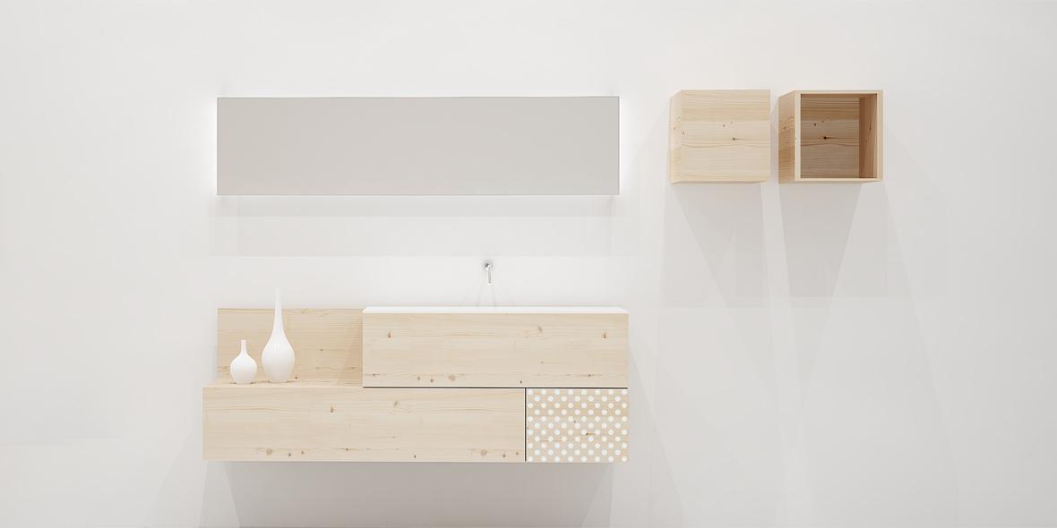 Mueble de lavabo con 3 cajones madera natural