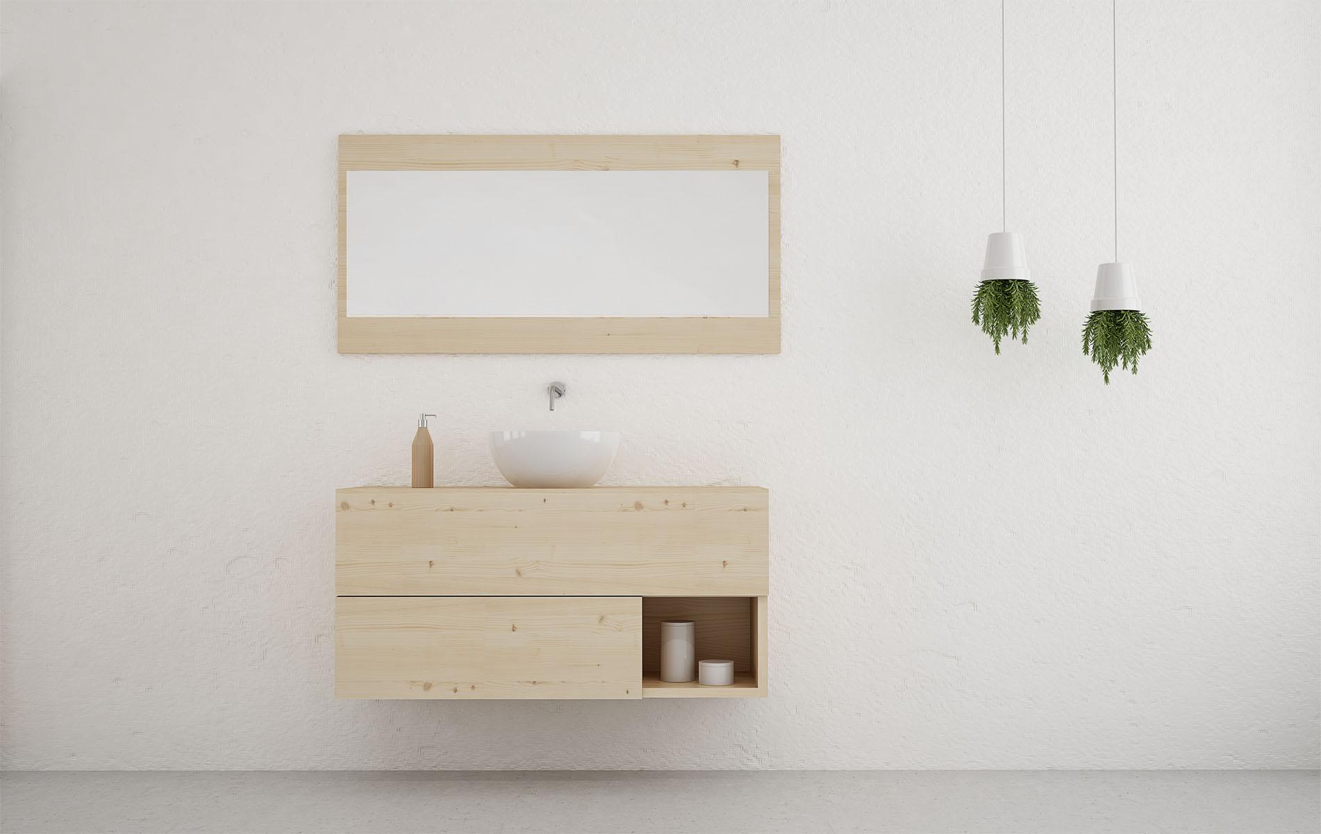 Mueble de baño moderno en madera con cajones