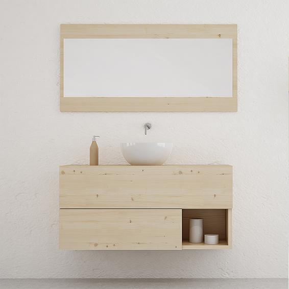 Mueble de baño con cajones y hueco diseño original en madera maciza