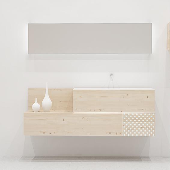 Mueble de baño cajones madera natural y topos blancos