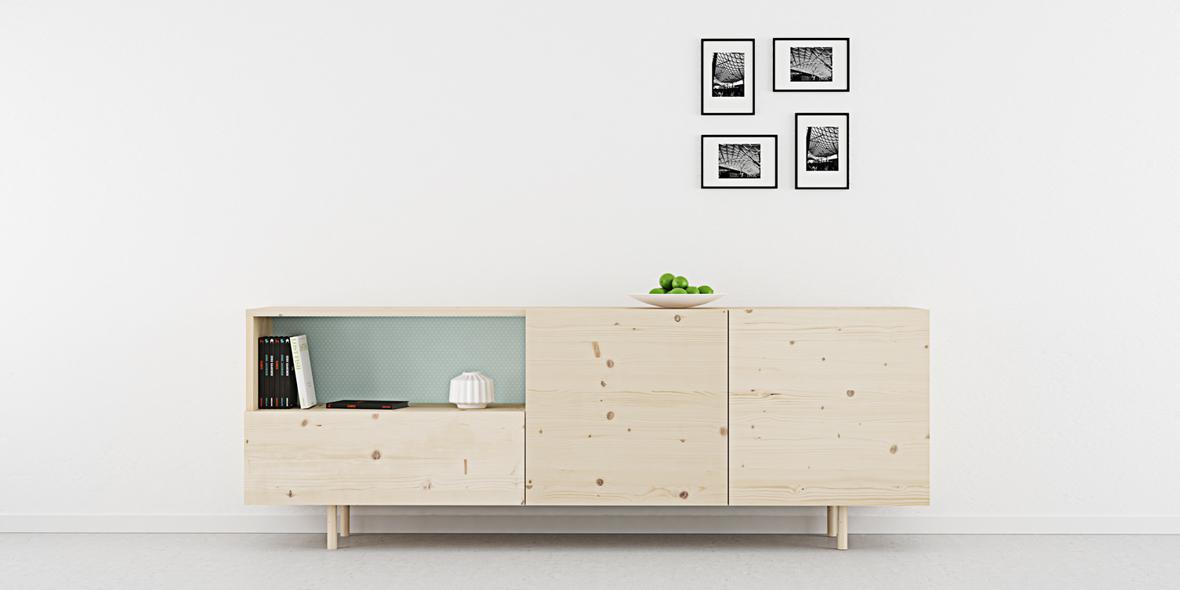 aparador 2 puertas y 1 cajón madera natural estilo nórdico fondo motivos
