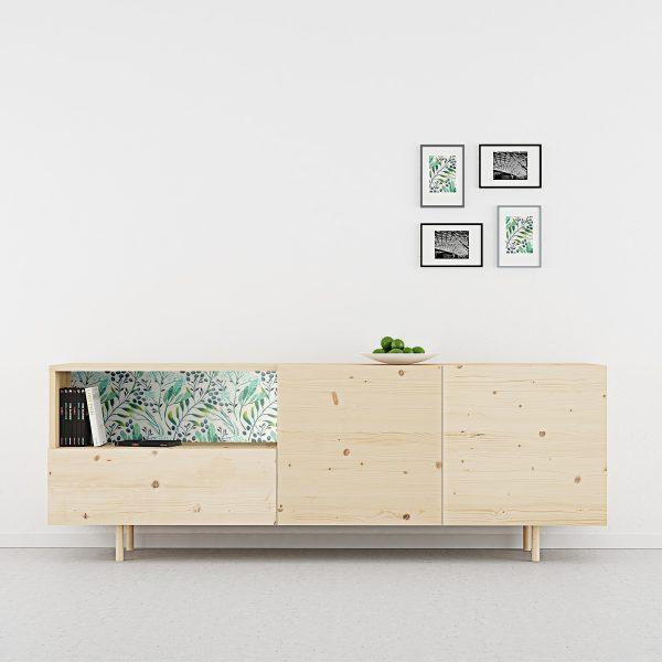 aparador madera natural con 2 puertas y fondo de flores