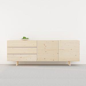 aparador moderno madera natural estilo nórdico con patas