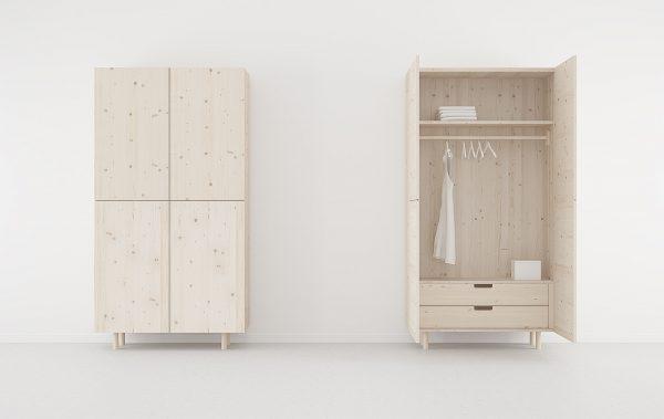 armario 2 puertas con cajones y patas color madera natural