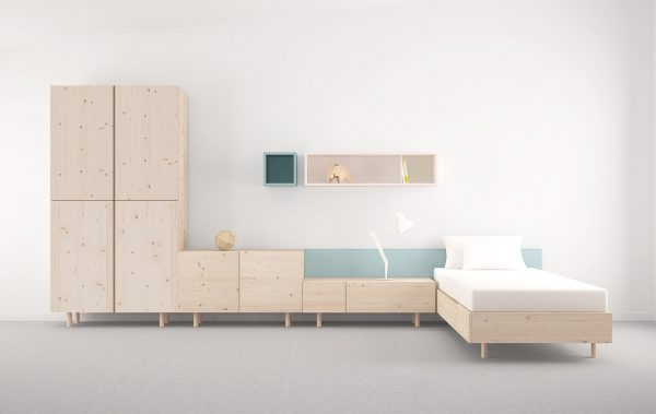 dormitorio juvenil estilo nórdico en madera color natural