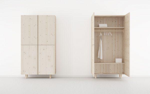 armario dormitorio juvenil en madera maciza con nudos color natural
