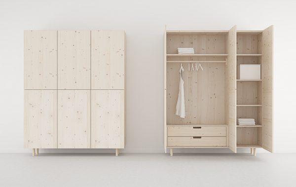 armario 3 puertas 2 cajones madera natural con nudos
