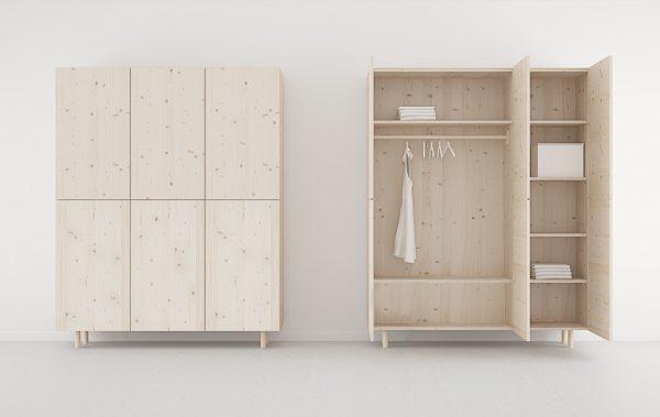 armario 3 puertas madera maciza diseño nórdico