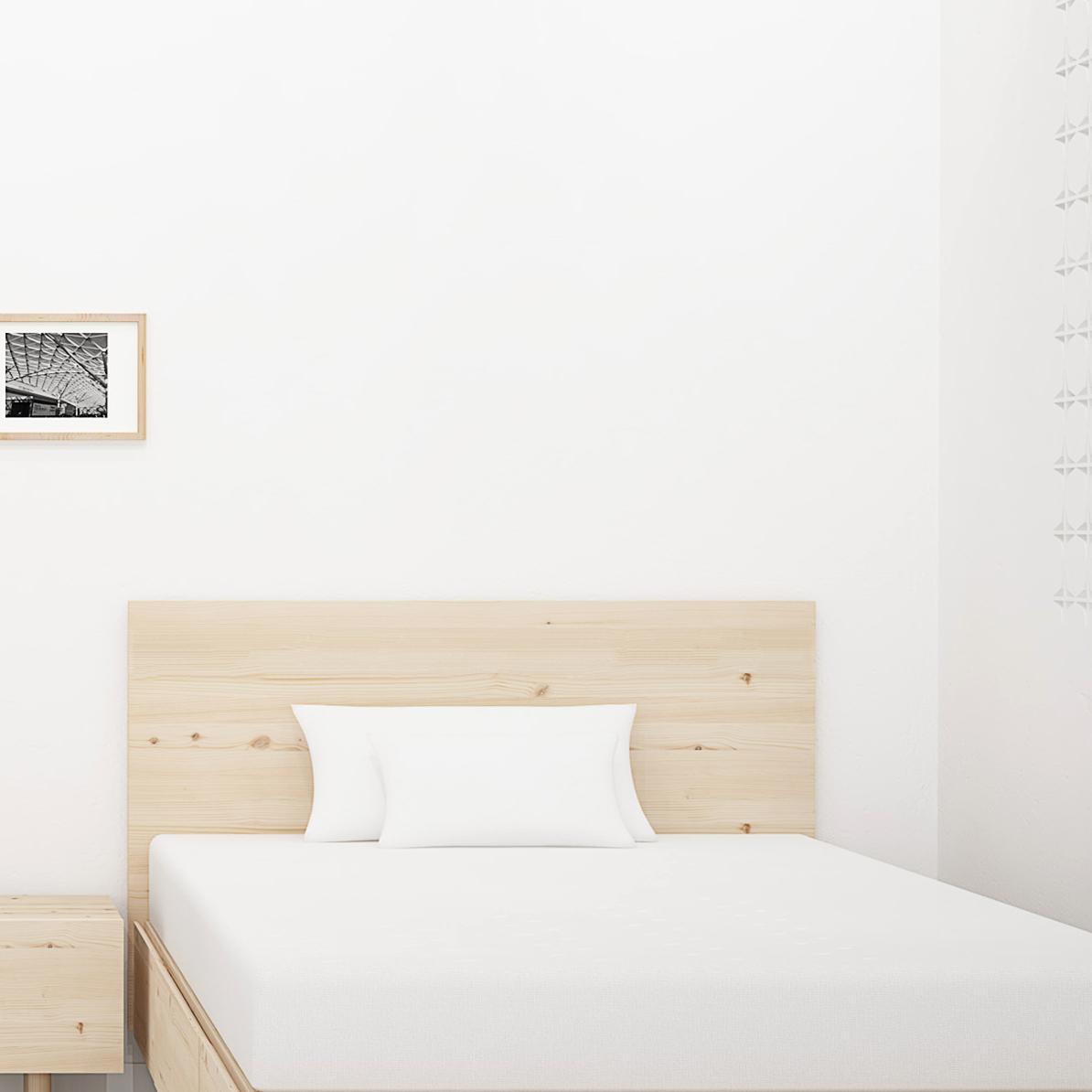 cabecero habitación juvenil madera natural con nudos