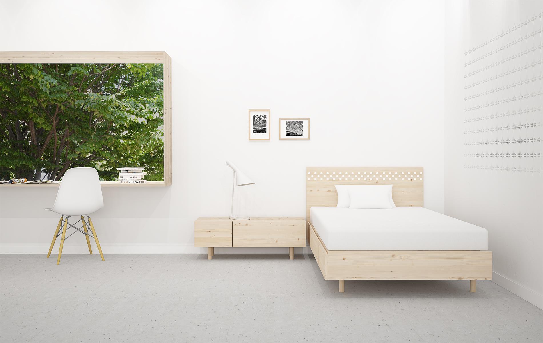 cabezal diseño para dormitorio juvenil en madera