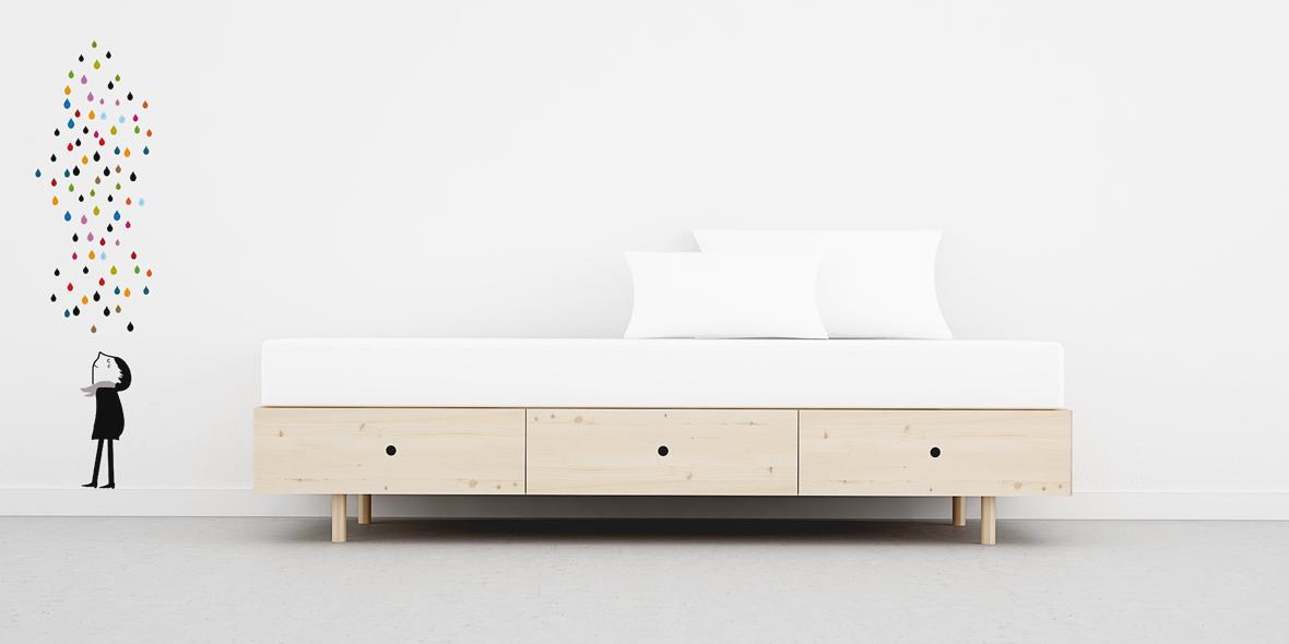 Cama estilo escandinavo con 3 cajones de 90 tienda online moble bo - Cama 90 con cajones ...