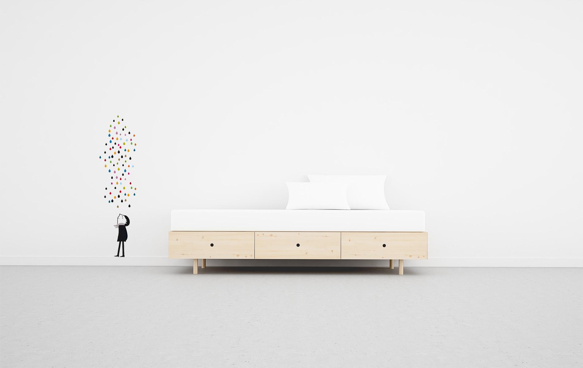 Cama estilo escandinavo con 3 cajones de 90. Tienda online Moble bo.