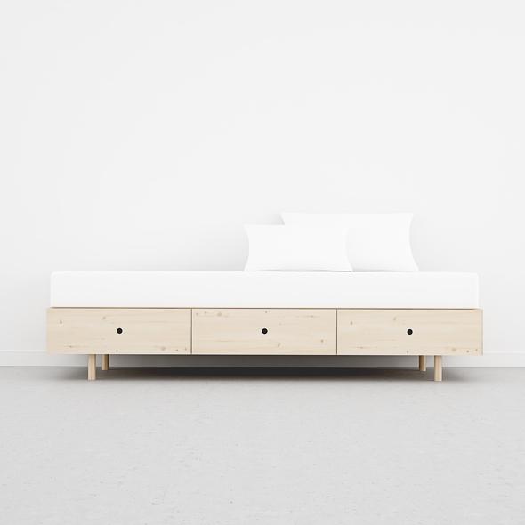 cama con cajones juvenil 90 madera estilo nórdico