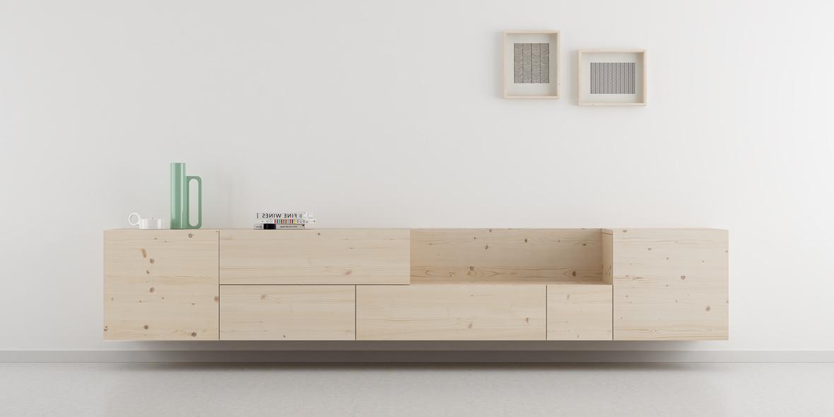 mueble salón modular estilo nórdico madera natural