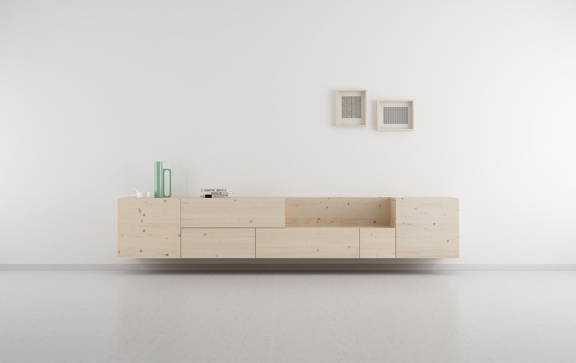 mueble salón TV modular original madera natural