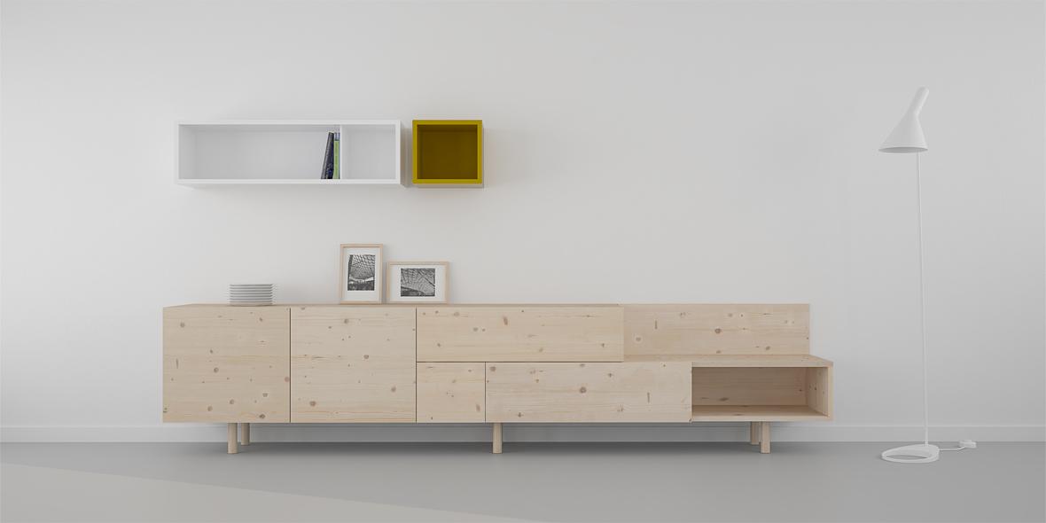 Mueble salón natural y blanco