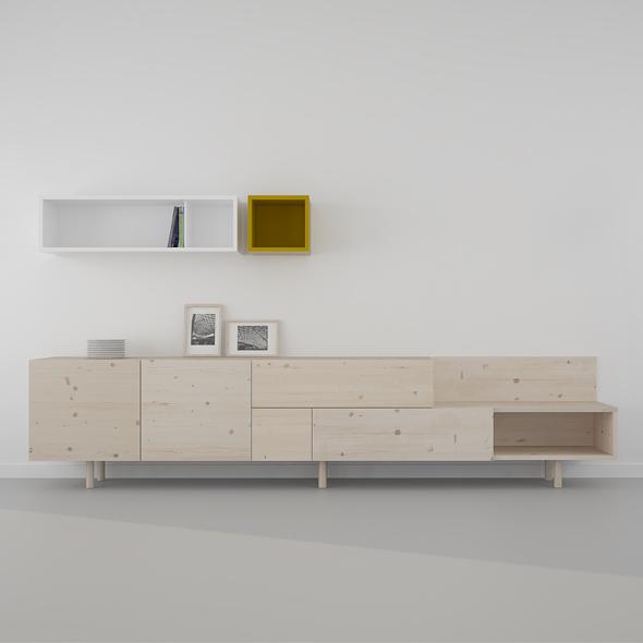 mueble nórdico madera natural