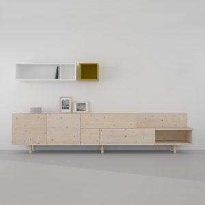 mueble salon modulos madera maciza y ecológica