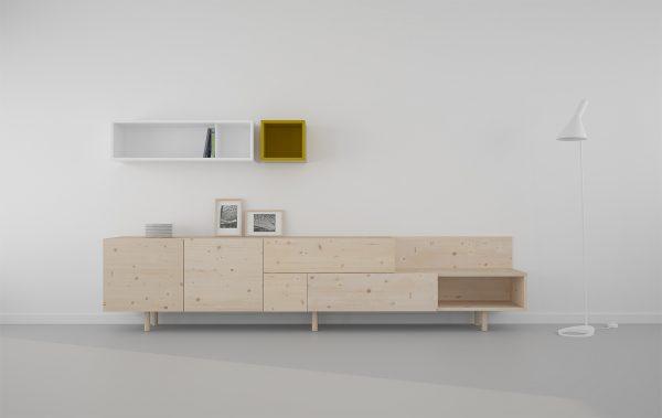 mueble salón modular estilo nordico madera con nudos