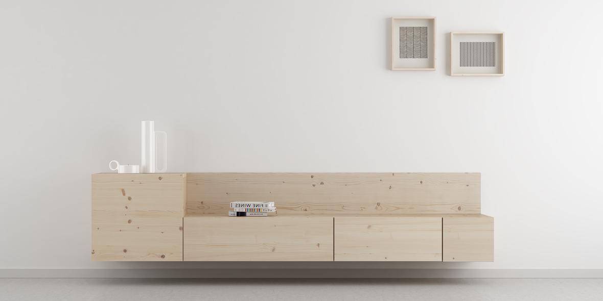 salón nórdico madera natural