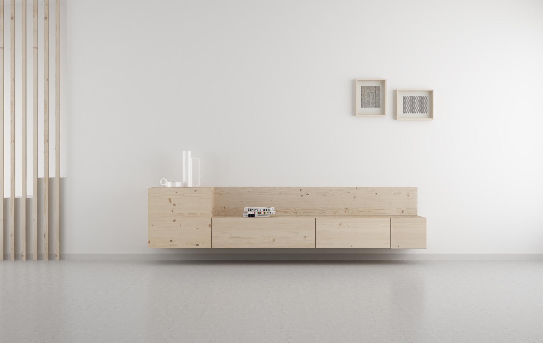 mueble colgante TV madera natural