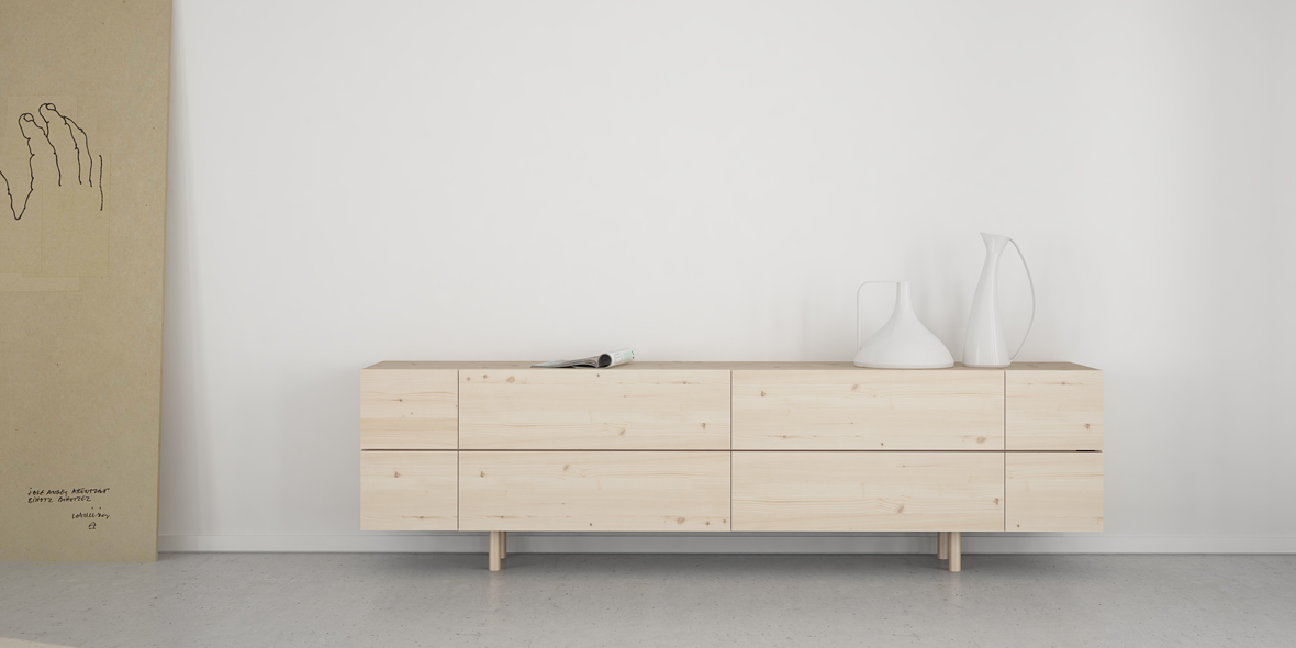 mueble salón escandinavo madera