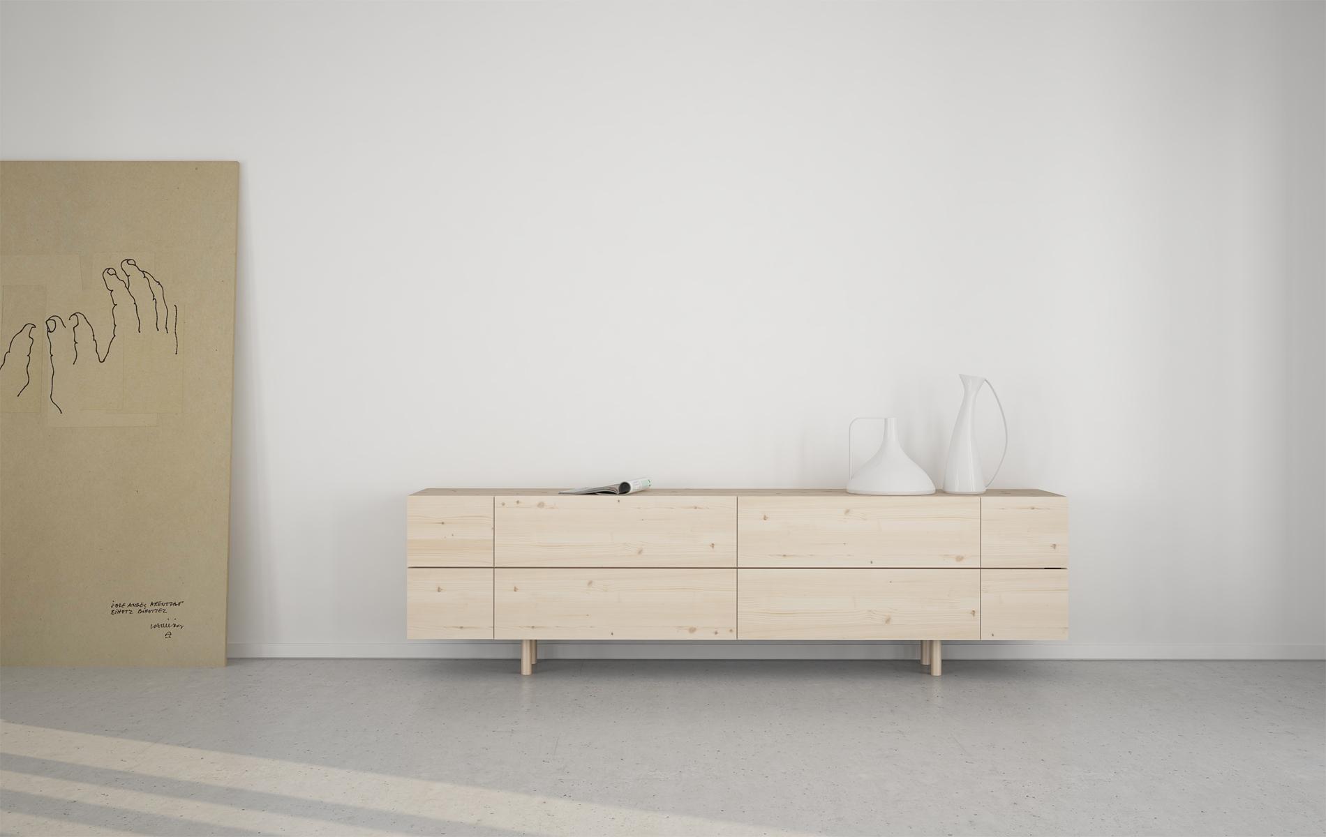 mueble salón cajones escandinavo