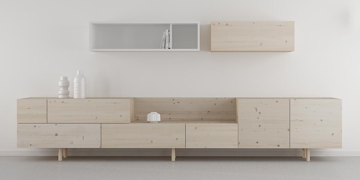 salón madera moderno