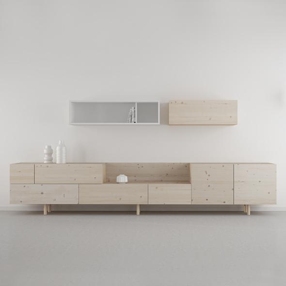 mueble salón moderno en madera