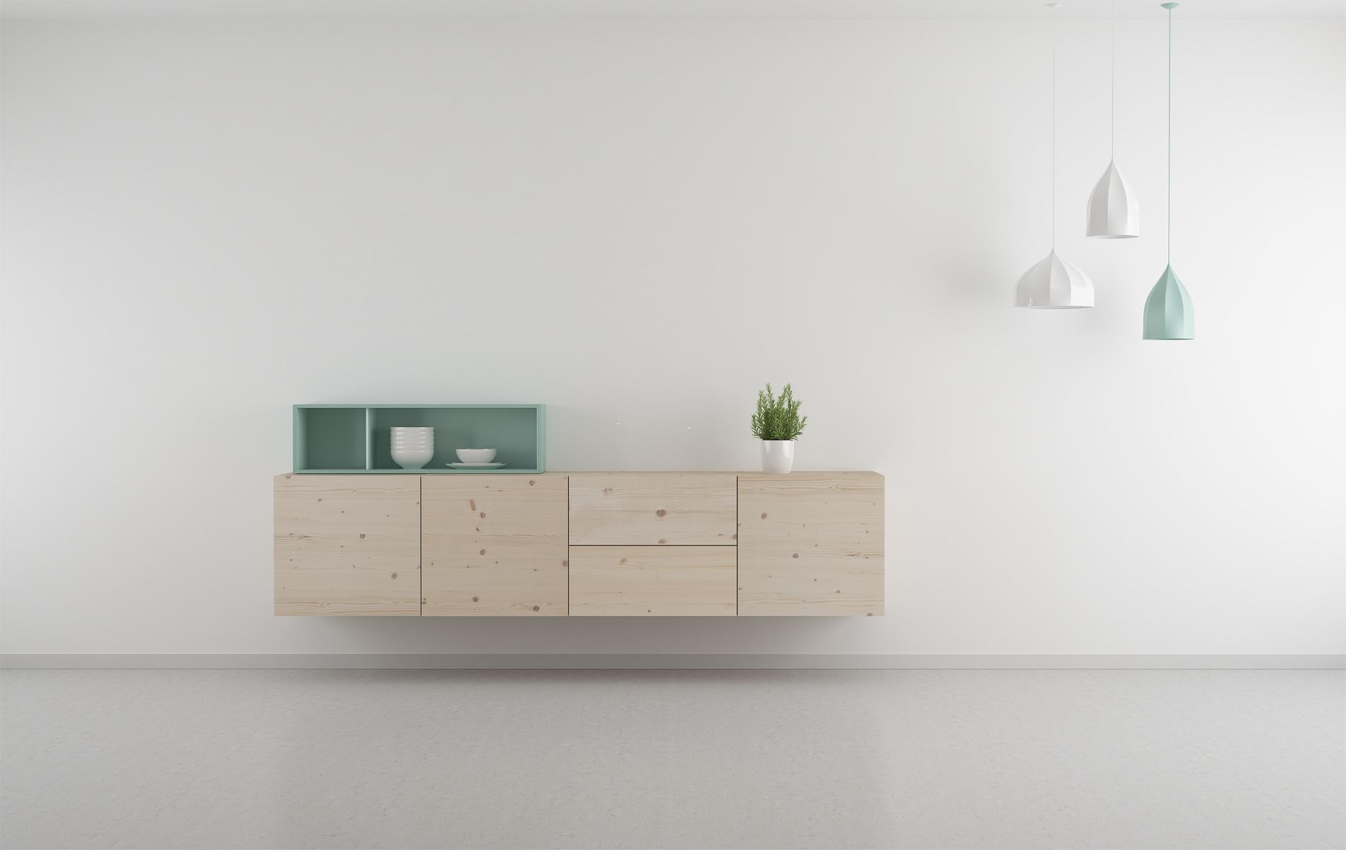 salón moderno madera natural