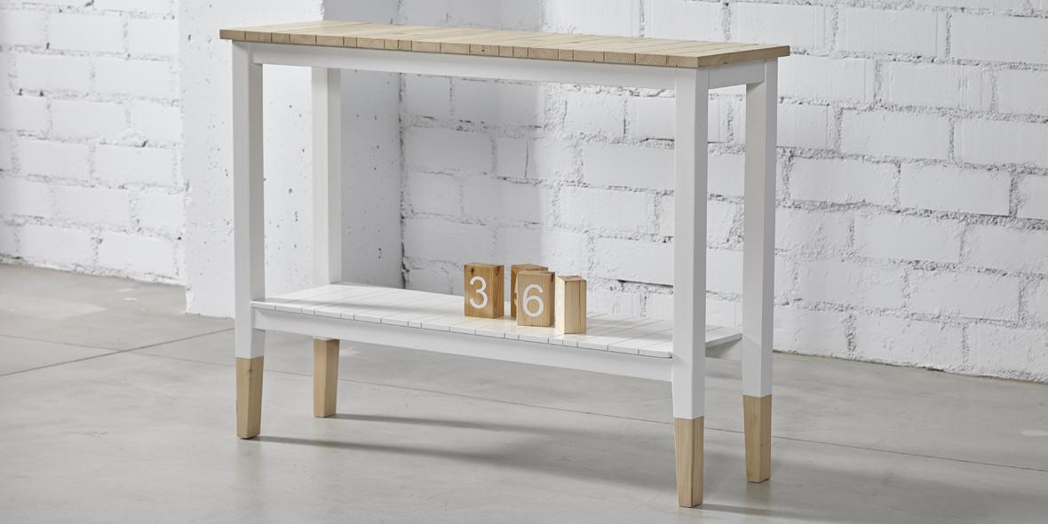 recibidor madera y blanco