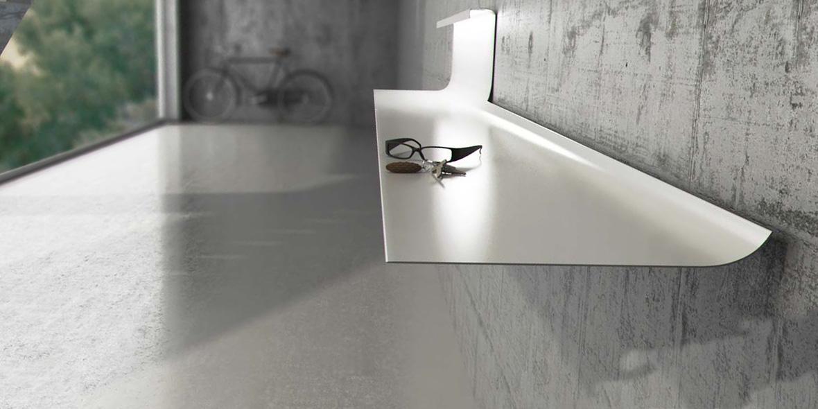 Mueble recibidor metal blanco