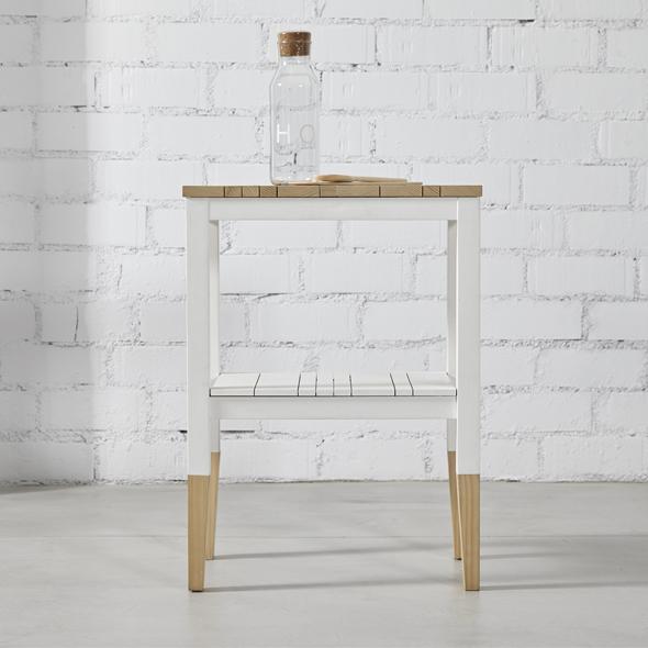 mesa auxiliar madera blanco