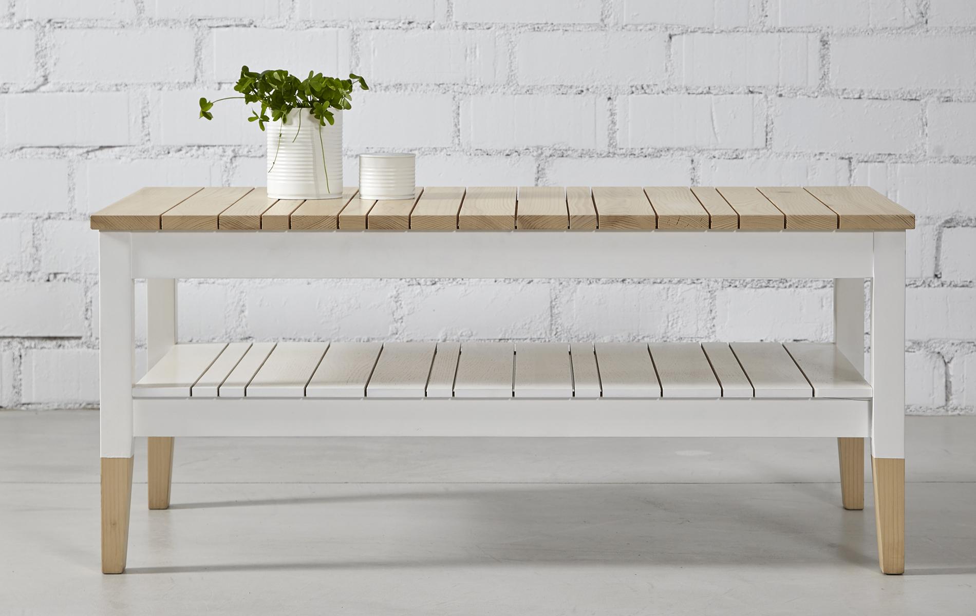 mesa de centro rectangular madera blanca