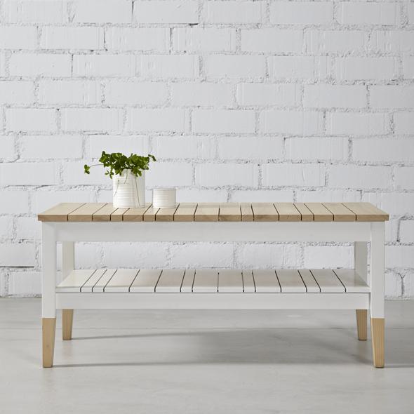 mesa de centro madera natural y blanca
