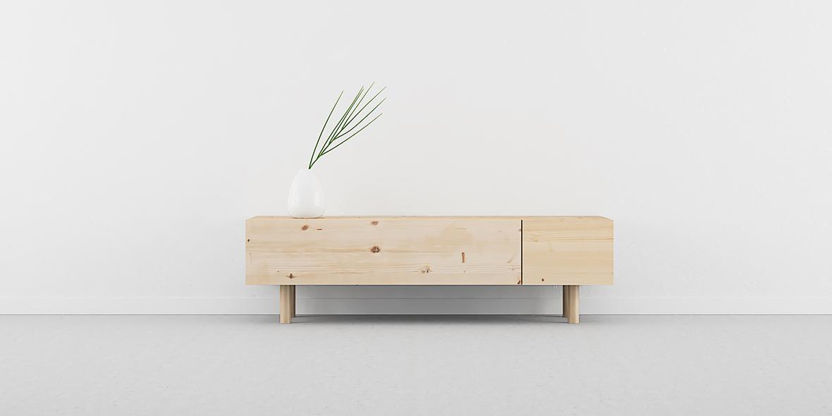 mueble Tv madera maciza con nudos