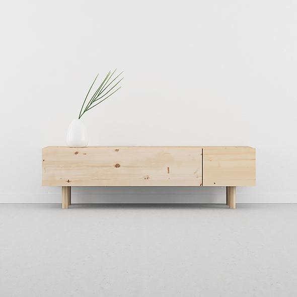 mueble TV madera natural y patas