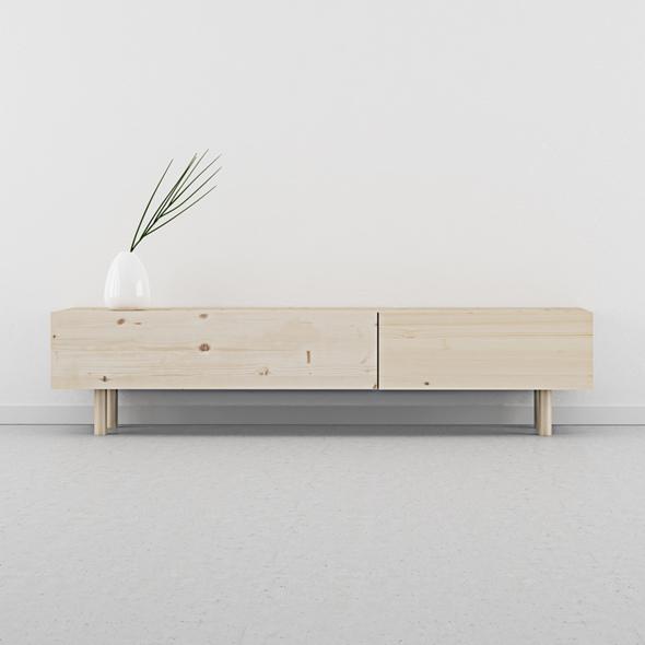 mueble TV cajones madera natural