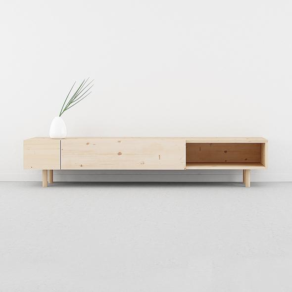 mueble TV nórdico madera 2 cajones