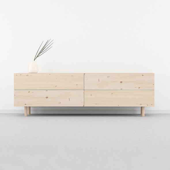 mueble TV madera natural cajones