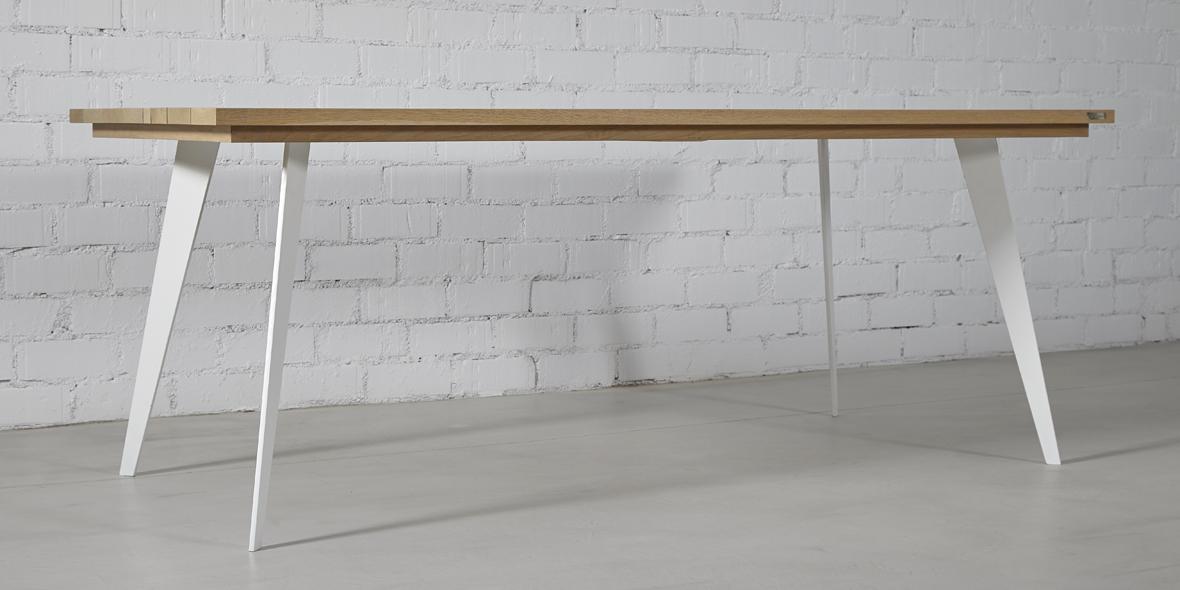 mesa comedor madera roble pata hierro