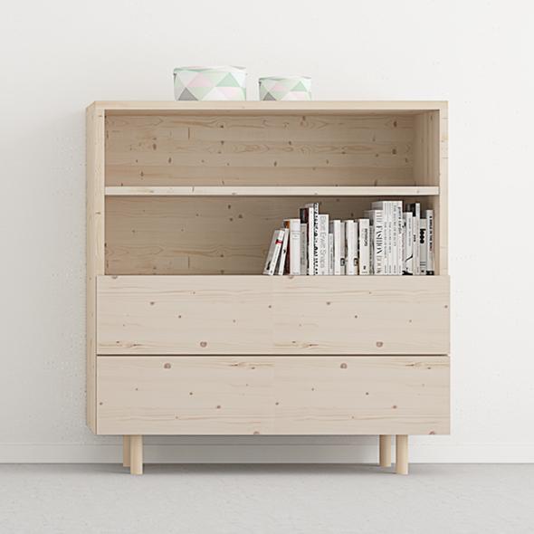 mueble librería 2 cajones y 1 estante madera